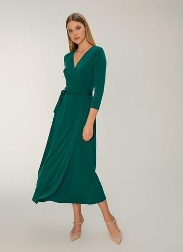 NGSTYLE Kruvaze Maksi Boy Örme Elbise Yeşil